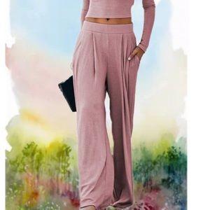 - - Wide leg soft pink  Boho Flowy Pants